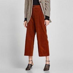 Zara Women Burnt Orange/Scarlet Corduroy Pants